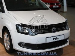 Дефлектор капота на Volkswagen Polo 2009- с лого EGR темный