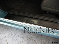 Матовые накладки на пороги Daihatsu Sirion  2008- Premium