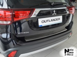 Накладка на бампер с загибом Mitsubishi Outlander 2015- Premium