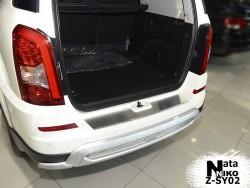 Накладка на бампер с загибом SsangYong Rexton W 2012- Premium
