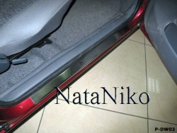 Матовые накладки на пороги Daewoo Nexia 95-08, 08- Premium