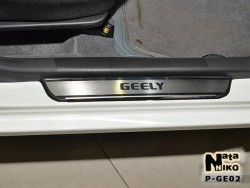 Матовые накладки на пороги Geely MK 4 двери 2006- Premium